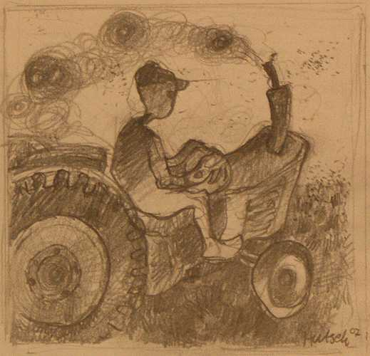 Boer met traktor