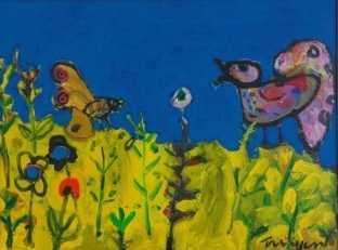 Vogel, vlinders en bloemen