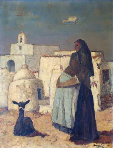 Spaanse vrouw met alpaca