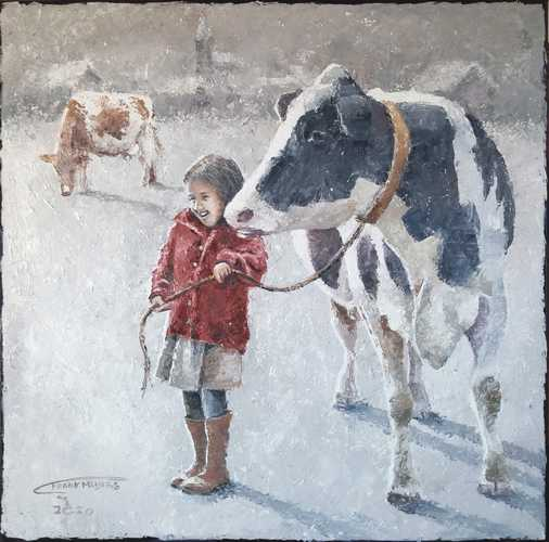 Girl with her cow