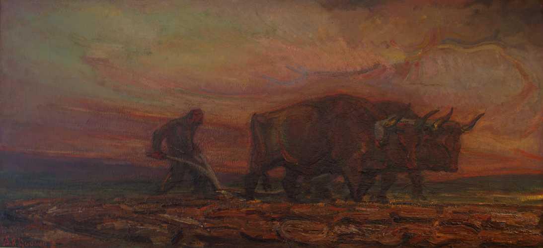 Met ossen ploegende boer in schemering